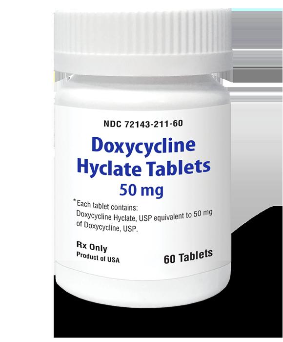 Bottle of prescription doxycycline hyclate tablets.