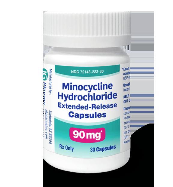 Bottle of prescription minocycline hydrochloride extended-release capsules.